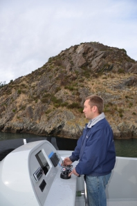 Andy McDonald at the helm of Aquila,