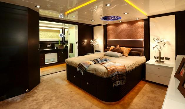 While designing the EP69 to be a world traveller, the builder took care to provide elegant accommodations for the owners and their guests, as typified here in the master suite.