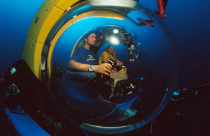 As Expedition Leader of the Deep Ocean Odyssey crew during Fall 2000, Fabien ran extensive tests on one of the revolutionary Deep Rover subs. Here he is at 1,400 feet maneuvering the sub through the Mediterranean Sea.