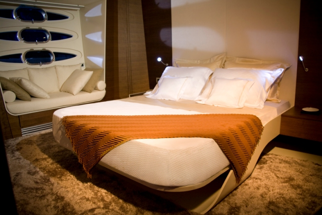 Just one of the variations on a theme aboard the NuMarine 78 Fly; here as realized in the master suite.