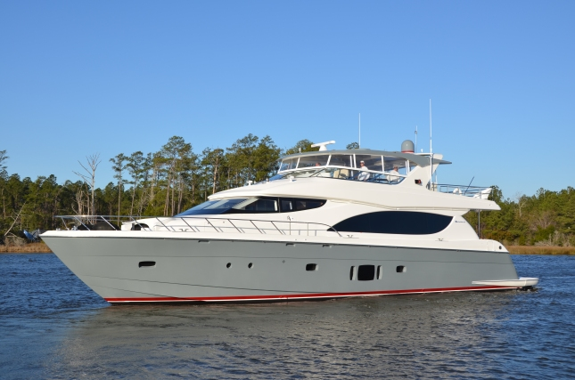 The latest Hatteras 80-foot MY, H2OME, sports a brand new paint job as well as a game changing interior.