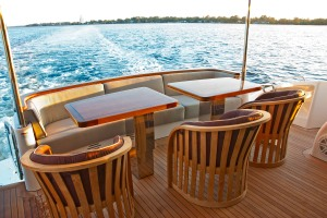 The spacious aft deck offers the opportunity for al fresco dining.