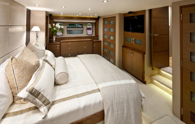 Comfort and luxury are found in all the living accommodations and especially in the master stateroom.