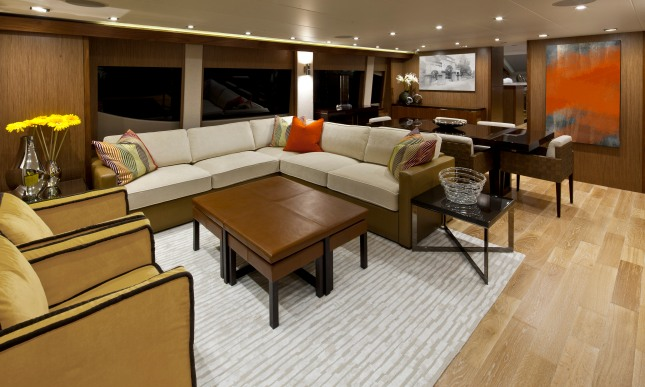 Moser and Talvacchio worked very closely with the owner so as to achieve the dramatic and contemporary design statement of the yacht, here typified in the main salon.