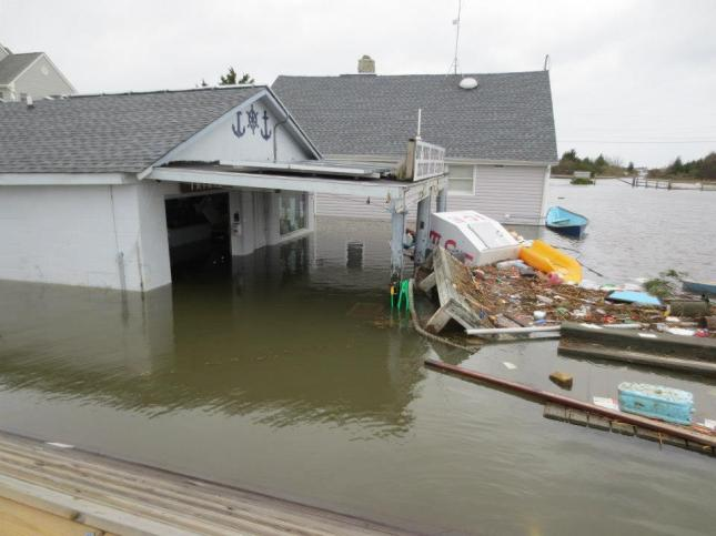 The damage to Trixie's is just one example of the devastating aftermath of Superstorm Sandy's effect on local marina businesses along the New Jersey shoreline. (Photo Courtesy of Chip.)