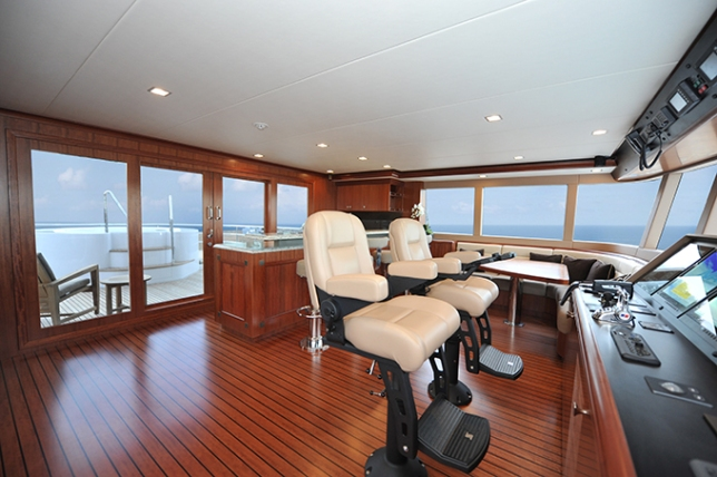 A view from the top takes on a new meaning from Aurora's pilothouse.
