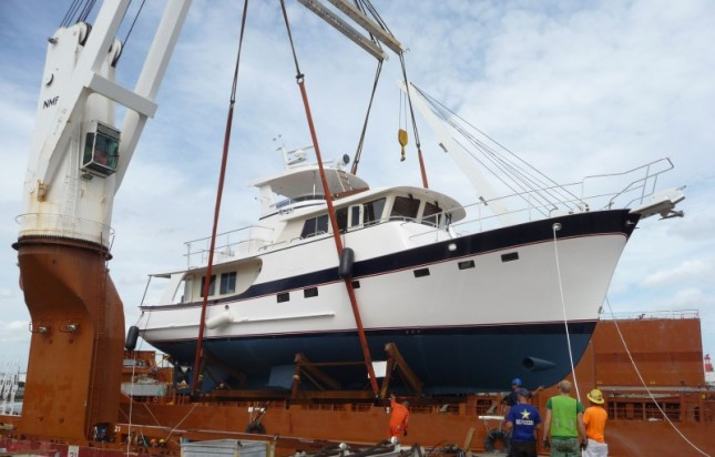 Destiny, Hull #20 is offloaded and delivered to her proud new owners.