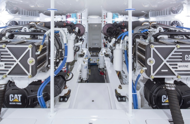 A true sign of a well-engineered boat is its engine room and all too true aboard the 62EB.
