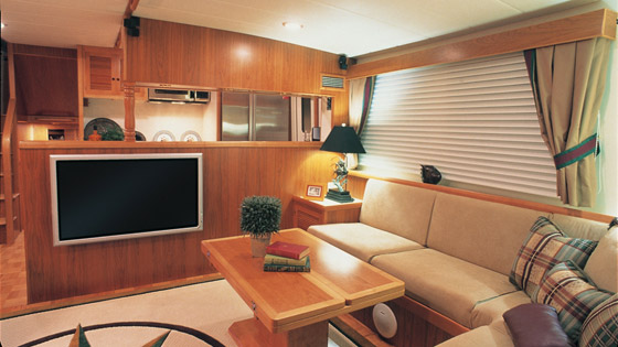 The interior of Hull #4's interior shows off Kadey-Krogen's ability to deliver a comfortable living space.