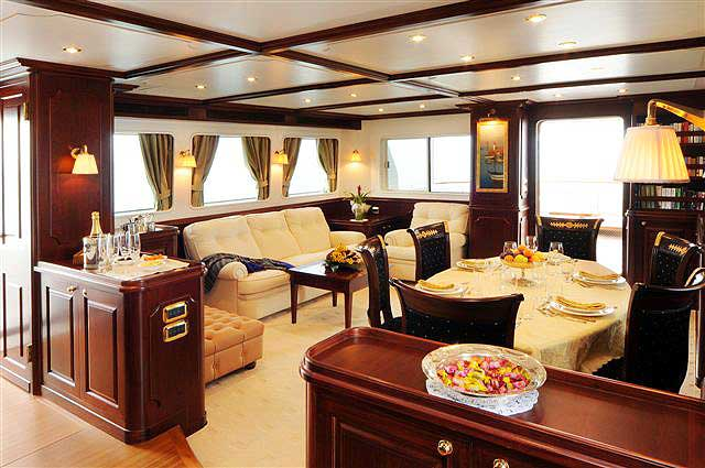 All things are possible with Nordhavn's custom craftsmanship as typified by the main salon.