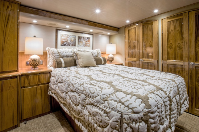 The master stateroom aboard a sportfishing boat as interpreted by Viking.