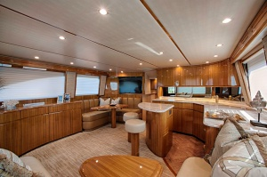 Comfort and roominess are built into the boat's salon.