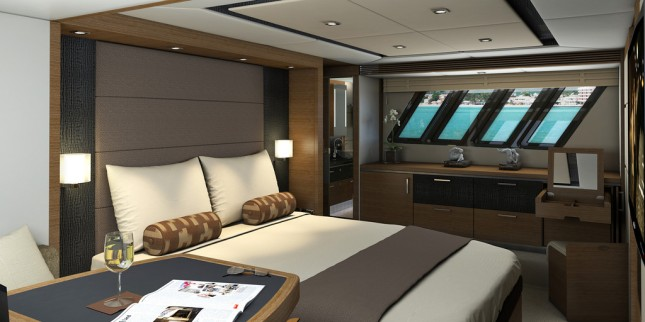 The master stateroom aboard the 650 Fly utilizes maximum space for maximum comfort.