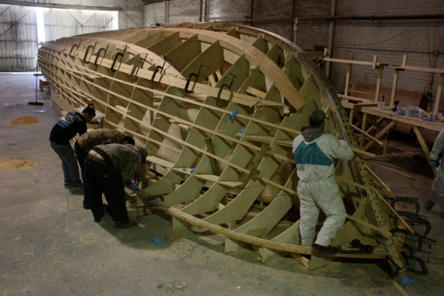 Cold molded construction is how Jarrett Bay builds all its boats. Here, the new 46 hull starts to take shape.