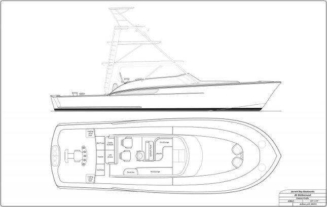Jarrett Bay renderings show off the new boat's profile and deck layout.