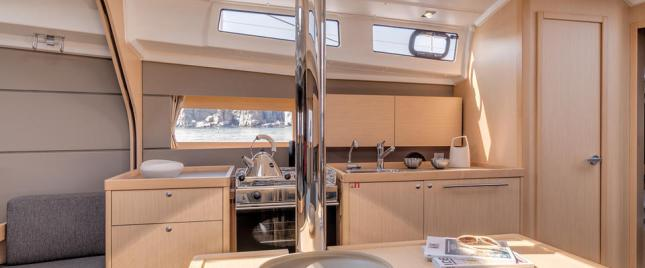 The galley area makes preparing and serving the kind of meals that makes for memorable times aboard.