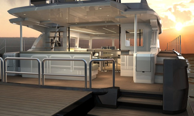 The X50's salon, as seen from aft, offers the kind of spaciousness only found on this type of vessel.