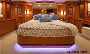 The elegant, full beam master stateroom offers the kind of space found on larger vessels.