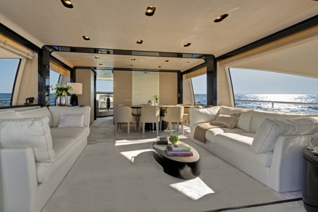 The main deck salon displays the vision Azimut has put both its minimalist design along with those oversized windows, ambient and provided lighting, and decor to in order to provide just the right balance for this remarkable entertaining space.