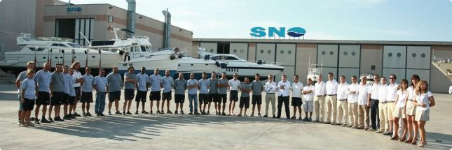 The SNO team is ready for its new partnership with Hatteras Yachts.