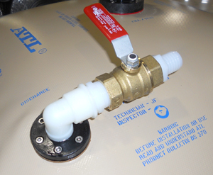 "A 1"" outlet with 1"" ball valve - hose barb included for quicker fuel transfer compared  to 1/2"", is also available."