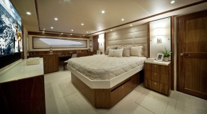 The master suite combines elegance, roominess, and the kind of storage space found on larger yachts.