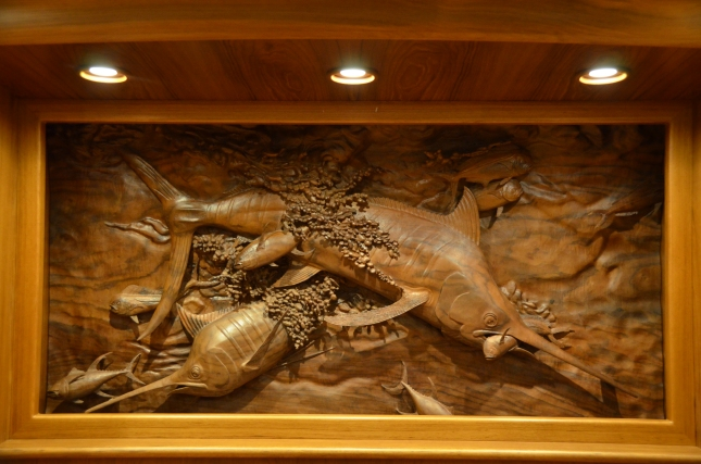 Clean Sweep's owners had this hand-carved piece of art commissioned by an artist to adorn the  the master quarters. (Photo Credit: Capt. Ken Kreisler)