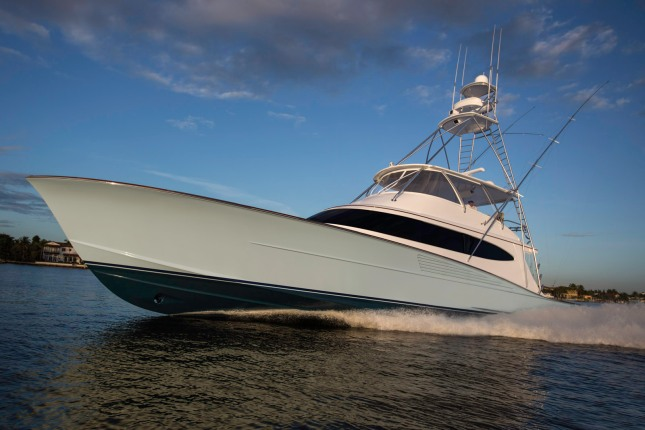 The latest from Bayliss Boatworks, the 77-foot Clean Sweep, shows off her dynamic profile. (Photo Credit: Bayliss Boatworks)