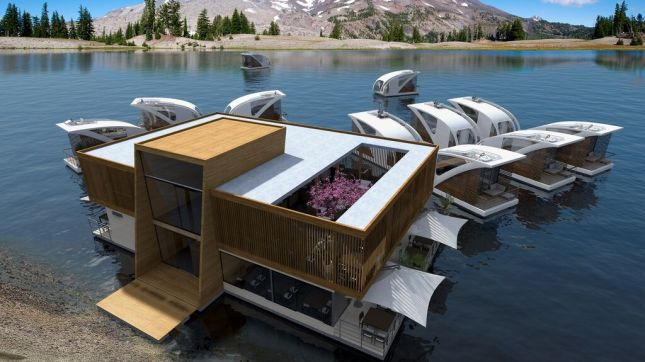 The concept calls for a central unit off of which, individual catamarans can be accessed.