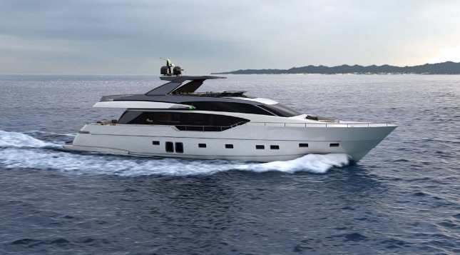 The Sanlorenzo SL86 shows off her classically inspired profile while underway.