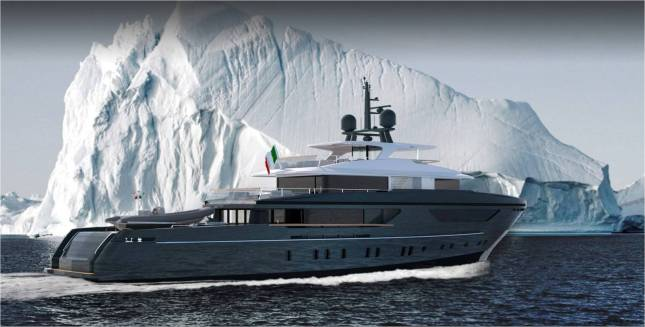 This artist rendering of the Sanlorenzo expedition yacht shows just one of the many places this rugged vessel is capable of visiting.