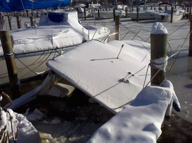 Unlike this vessel, boats that are properly winterized are most likely to enter next year's boating season without damage and ready to hit water (Photo Credit: Jack Hornor).