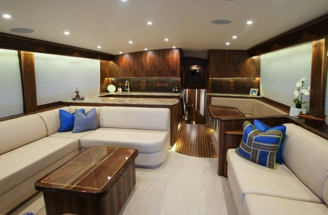 A look forward in the main salon reveals the fine woodwork and attention to detail Jarrett Bay Boatworks is noted for.