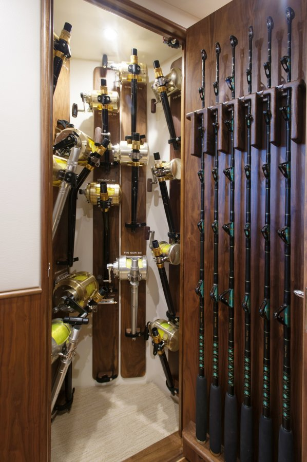 There's plenty of tackle storage aboard including this hallway closet.