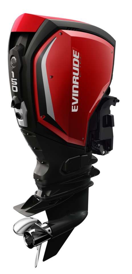 150 HP Evinrude E-TEC G2 - Red Panels with Black Accents